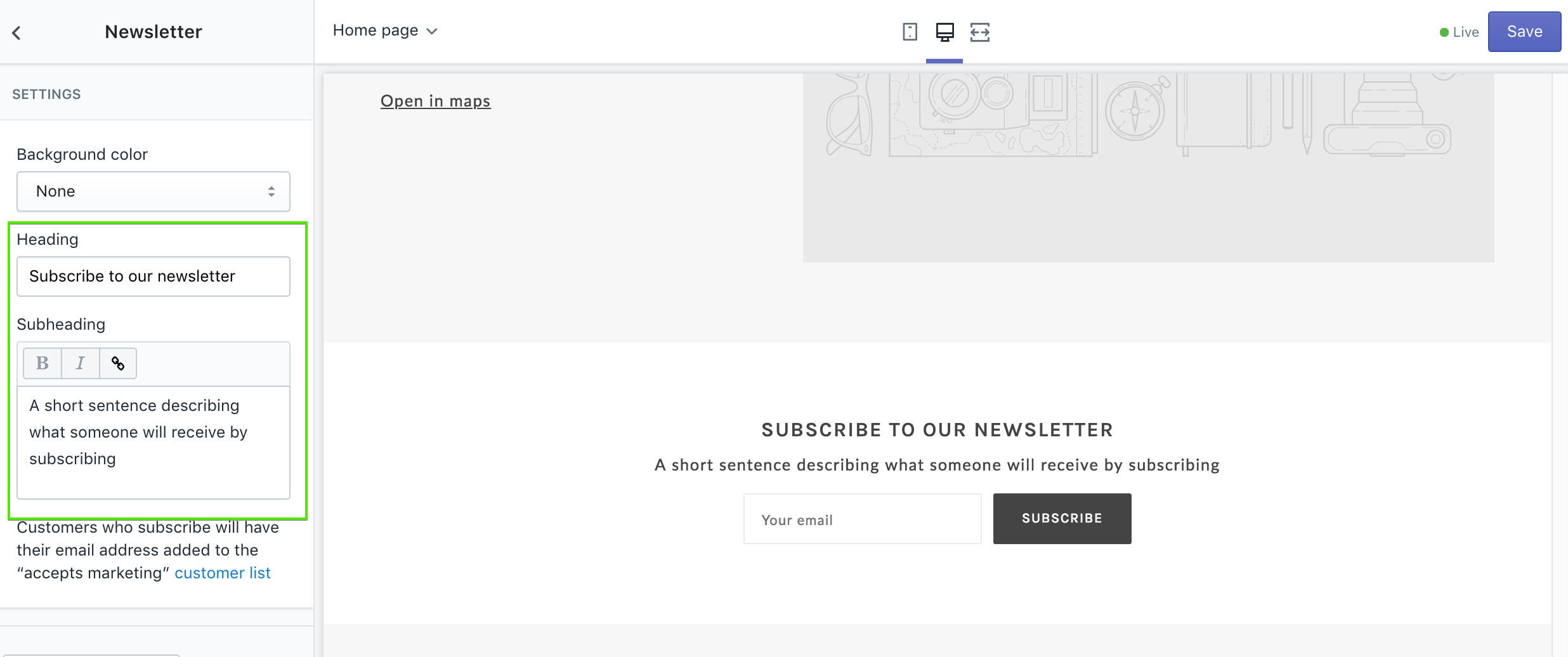 newsletter section demo